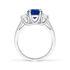 Toggle 3 Stone Oval Blue Sapphire and Half Moon Diamond Ring