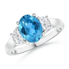 Three Stone Oval Swiss Blue Topaz and Half Moon Diamond Ring