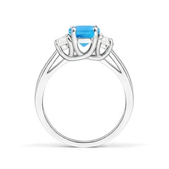 Toggle Three Stone Oval Swiss Blue Topaz and Half Moon Diamond Ring