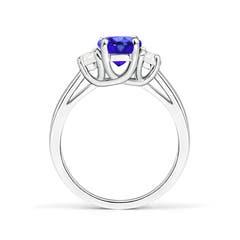 Toggle Three Stone Oval Tanzanite and Half Moon Diamond Ring