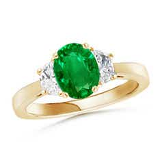 Emerald and Diamond Tapered Shank Three Stone Ring