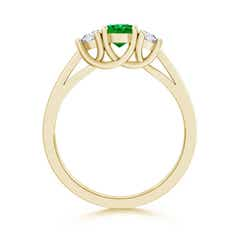 Toggle Emerald and Diamond Tapered Shank Three Stone Ring