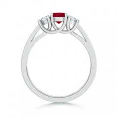 Tapered Shank 3 Stone Oval Ruby and Diamond Ring