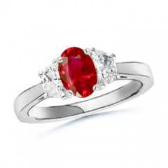 Ruby and Diamond Tapered Shank Three Stone Ring