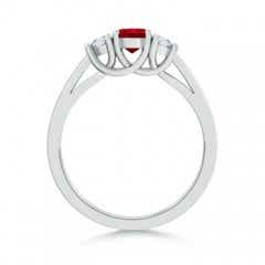 Toggle Ruby and Diamond Tapered Shank Three Stone Ring