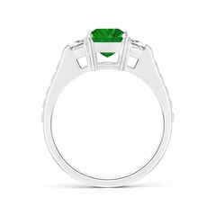 Toggle Three Stone Emerald-Cut Emerald and Trapezoid Diamond Ring