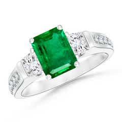 Three Stone Emerald-Cut Emerald and Trapezoid Diamond Ring