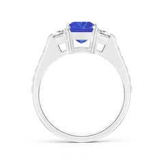 Toggle Three Stone Emerald-Cut Tanzanite and Trapezoid Diamond Ring