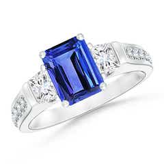 Classic Three Stone Emerald Cut Tanzanite and Diamond Ring