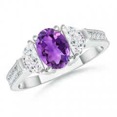 Oval Amethyst and Half Moon Diamond Three Stone Ring