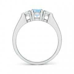 Toggle Oval Aquamarine and Half Moon Diamond Three Stone Ring