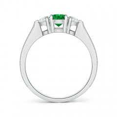 Toggle Oval Emerald and Half Moon Diamond Three Stone Ring