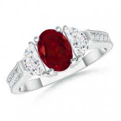 Oval Garnet and Half Moon Diamond Three Stone Ring