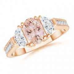 Oval Morganite and Half Moon Diamond Three Stone Ring