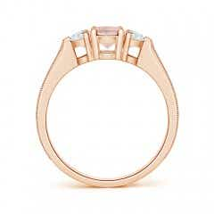 Toggle Oval Morganite and Half Moon Diamond Three Stone Ring