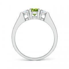 Toggle Oval Peridot and Half Moon Diamond Three Stone Ring