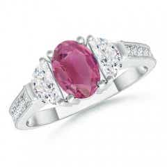 Oval Pink Tourmaline and Half Moon Diamond Three Stone Ring