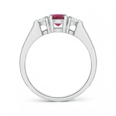 Toggle Oval Pink Tourmaline and Half Moon Diamond Three Stone Ring