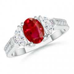 Oval Ruby and Diamond Half Moon Three Stone Ring