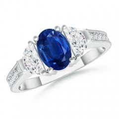 Oval Blue Sapphire and Half Moon Diamond Three Stone Ring