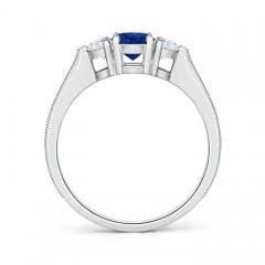 Toggle Oval Blue Sapphire and Half Moon Diamond Three Stone Ring