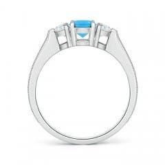 Toggle Oval Swiss Blue Topaz and Half Moon Diamond Three Stone Ring
