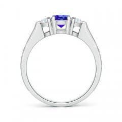 Toggle Oval Tanzanite and Half Moon Diamond Three Stone Ring