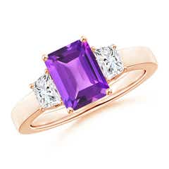 Amethyst and Diamond Three Stone Ring