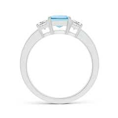 Toggle Aquamarine and Diamond Three Stone Ring