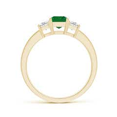 Toggle Emerald and Diamond Three Stone Ring