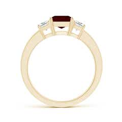 Toggle Garnet and Diamond Three Stone Ring