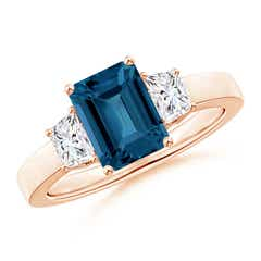 Emerald Cut London Blue Topaz and Diamond Three Stone Ring
