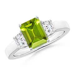 Emerald Cut Peridot and Diamond Three Stone Ring