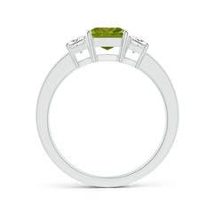 Toggle Peridot and Diamond Three Stone Ring