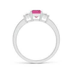 Toggle Pink Sapphire and Diamond Three Stone Ring
