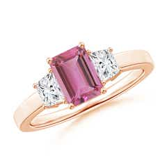Emerald Cut Pink Tourmaline and Diamond Three Stone Ring