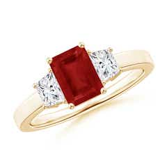 Emerald Cut Ruby and Diamond Three Stone Ring