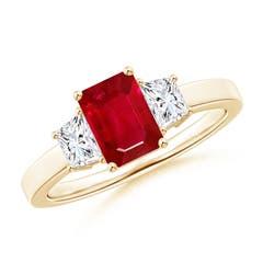 Emerald Cut Ruby and Diamond Three Stone Ring