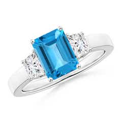 Emerald Cut Swiss Blue Topaz and Diamond Three Stone Ring