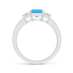 Toggle Swiss Blue Topaz and Diamond Three Stone Ring