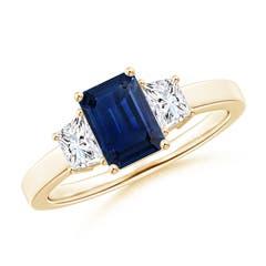 Emerald Cut Blue Sapphire and Diamond Three Stone Ring