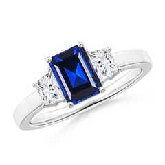 Emerald Cut Lab Created Sapphire and Diamond 3 Stone Ring