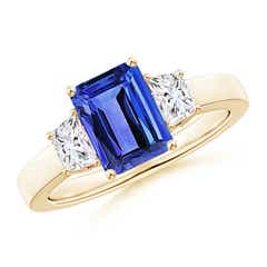 Angara Solitaire Emerald-Cut Tanzanite Infinity Twist Ring with Diamond 3hZiWLAXj
