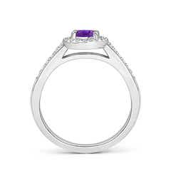 Toggle Classic Oval Amethyst Halo Ring with Diamond Accents