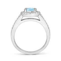 Toggle Classic Oval Aquamarine Halo Ring with Diamond Accents