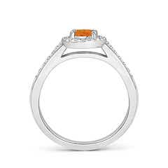 Toggle Classic Oval Citrine Halo Ring with Diamond Accents