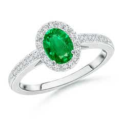 Classic Oval Emerald Halo Ring with Diamond Accents