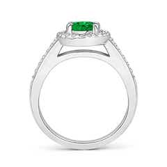 Toggle Classic Oval Emerald Halo Ring with Diamond Accents
