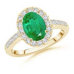 Classic GIA Certified Oval Emerald Halo Ring with Diamonds