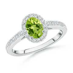 Prong Set Oval Peridot Halo Ring with Diamond Accents